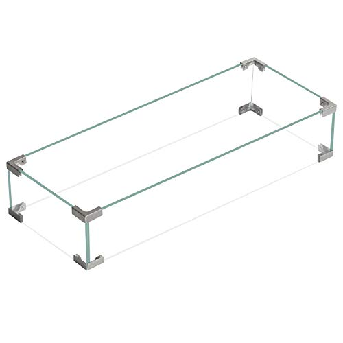 kunnestore Outdoors Square Fire Pit Glass Wind Guard, Clear Tempered Wind Guard for Fire Pit Table | US Stock (30.7'x 11.8'x 5.9')