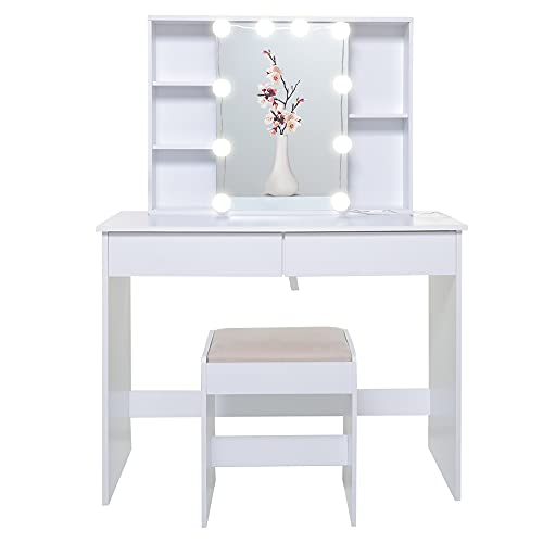 USIKEY Large Vanity Set with 1 Slide Rail Mirror & 10 Light Bulbs, Makeup Tables with 5 Shelves, Vanity Dressing Table with 2 Large Drawers and 1 Cushioned Stool for Bedroom, Bathroom, White