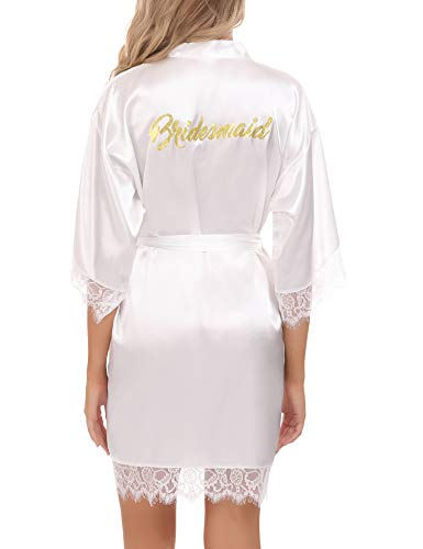 Aibrou Kimono Mujer Bata Novia, 100% Poliéster Bata Mujer Saten para Boda & Fiesta