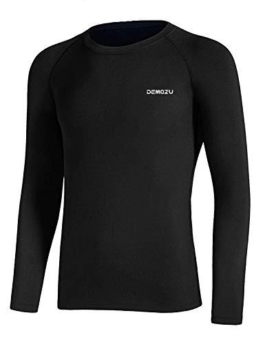 DEMOZU Boy's Thermal Fleece Compression Shirt Lightweight Ultra Soft Long Johns Football Baseball Undershirt Baselayer Top, Black, S
