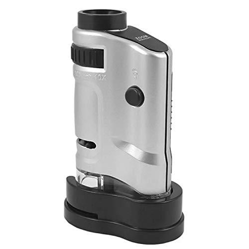 Deliu Microscopio Microscopio portátil de Mano con luz LED 20X-40X Ampliación Plateada y Negro