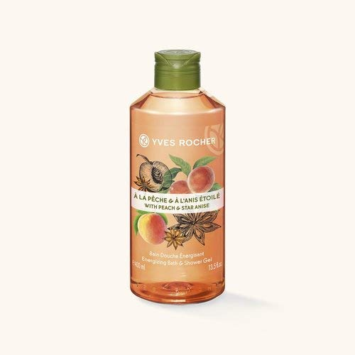 Yves Rocher LES PLAISIRS NATURE Duschbad Pfirsich-Sternanis, Aroma-Schaumbad & pflegendes Duschgel, 1 x Flacon 400 ml