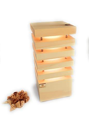 Holzglanz - Design LED-Zirbenlampe 14 x 14 x 30 cm - hochwertige Schlafzimmer-Lampe aus Zirbenholz - Duftlampe mit angenehmen Zirbenduft - Handgefertigt in Österreich
