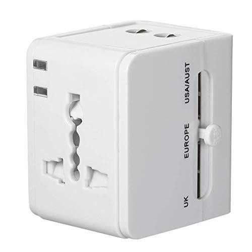 HYLH Adaptador Corriente Universal Viaje Todo el Mundo Convertidor Zoacute;calo con Dos Puertos USB Adaptador Internacional Enchufe Alimentacioacute;n para Reino Unido, EE. UU, Europa y Europa