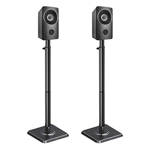 Mounting Dream Height Adjustable Bookshelf & Desktop Vizio, Bose, Sonos, Polk, JBL, Sony, Speaker Stands Pair with Wire Management, (11LBS Per, Black