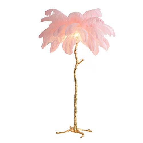 Lámpara De Araña Lámpara De Pie,Elegante Creativo Resina Oro Lámpara De Pie Con Lujo Blanco Avestruz Pluma Decorativa Para Sala De Estar Dormitorio Cabecera Lámpara De Pie De Trípo-Rosa 110x170cm(43x6