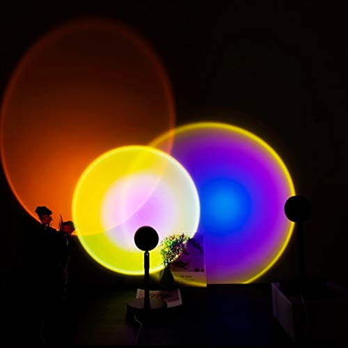 JDKC- 3 Paquetes Lámpara de Proyector Rainbow/Sunset/Sun Luz LED para Fotografía en Color para Decoración de Pared de Fondo de Fiesta de Bar Alimentación USB 90 Giratorio