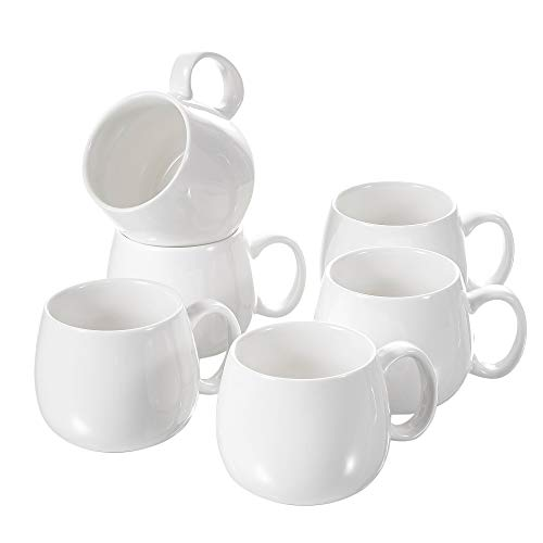 Panbado, Porzellan Kaffeetassen Weiß, 6 teilig 375 ml Tee Kaffee Tassen Set