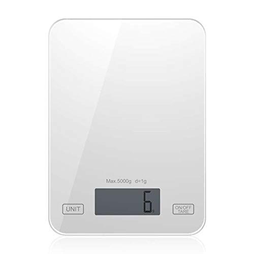 Báscula de cocina doméstica de 5 kg, mini básculas electrónicas para alimentos, básculas dietéticas, herramienta de medición, pesaje electrónico Digital LCD delgado (white)