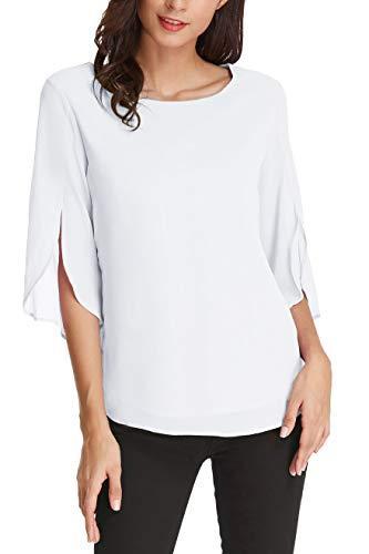 Women's 3/4 Petal Sleeve Chiffon Blouse Casual T-Shirt Tops Size M White