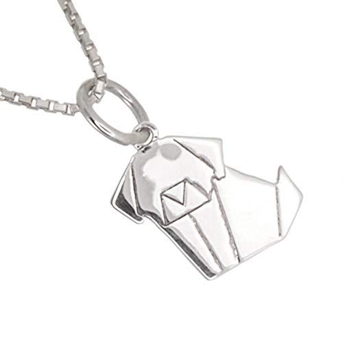 Quirky N36 - Colgante de plata de ley con diseño de perro origami pequeño y bonito (9 mm x 17 mm)