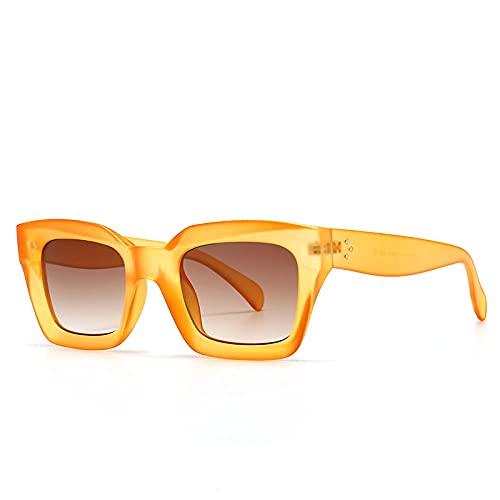 Powzz ornament Gafas de sol cuadradas Retro Vintage Gafas de sol para mujeres Hombres Moda Gafas clásicas negras UV400 oculos-6_orange_Universal
