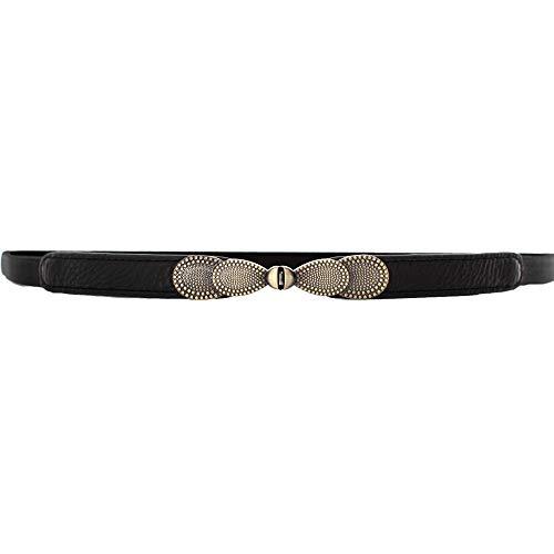 WODISON Pelle donne Vintage Cintura sottile dell'arco del metallo elastico in vita cintura nera