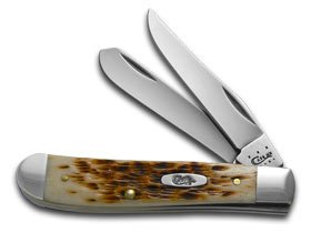 CASE XX Peach Seed Jigged Amber Bone Mini Trapper Stainless Pocket Knife Knives Amber Peach Seed Jigged Bone