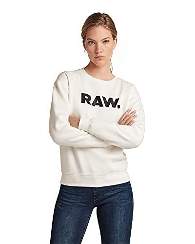 G-STAR RAW Premium Core Raw. Crewneck Maglia di Tuta, White (Milk C235-111), XS Donna