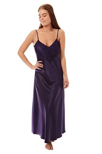 BB LINGERIE Damen Langes Satin-Nachthemd mit Spitze, Lange Länge, Übergröße, Brautkleid, sexy Gr. Large, violett