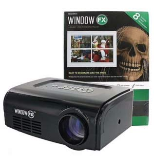 WindowFX Holiday Video Decorating Kit with Remote Control, 8 Videos, Projector Screen, and Adjustable Tripod