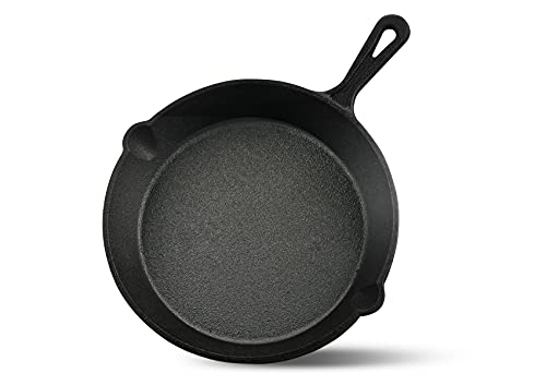 """ProFire Cast Iron Skillets (10"""") Heavy-Duty Pre-Seasoned Pan Cookware for Oven Fry Saute Grilling Perfect for Beef Steak Cooking"""