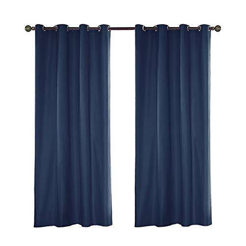 Mingfuxin Indoor Outdoor Curtains Waterproof Blackout Curtains for Porch Cabana for Patio Porch Gazebo Privacy with Grommet Top (54x96 Inch, Navy)