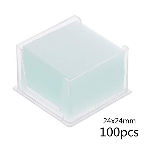 100 portaobjetos de cristal para microscopio, instrumento óptico, transparente, cuadrados, portaobjetos 24