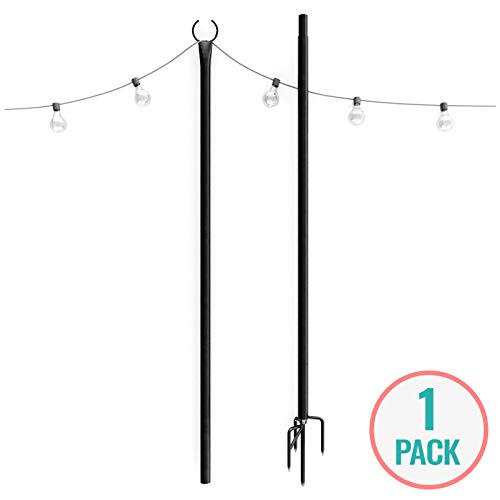 Holiday Styling: String Light Poles for Outdoors (1 x 9ft) Push Down Middle to Stay Strong Straight and Sturdy to Hang LED Hanging Solar Bulbs for House Garden Cafe Wedding Party