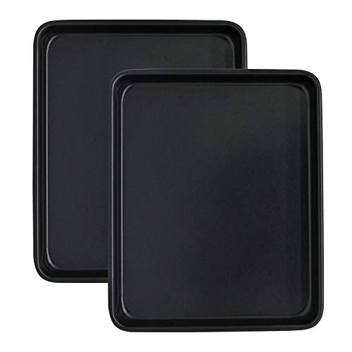 11 Inch Baking Sheets for Oven Set of 2, Shinsin Nonstick Toaster Oven Pans Heavy Gauge Steel 11X9 Inch Cookie Sheets for Baking, 1 Inch Deep Toaster Oven Tray Replacement (Black)