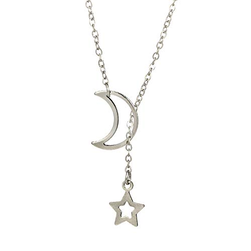 jieGorge Women's Moon Star Pendant Choker Necklace Gold Silver Long Chain Jewelry Simple , Necklaces & Pendants , Products for Xmas Day (Silver)