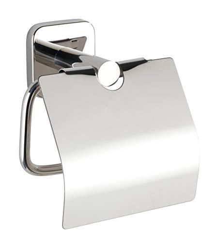 Wenko Toilettenpapierhalter Mezzano, Papierrollenhalter mit Deckel zum Schutz hält das WC-Papier griffbereit, aus hochwertigem, glänzendem Edelstahl rostfrei, 15 x 13 x 7 cm