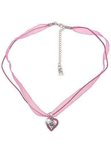 Leslii Damen-Kette Edelweiß Herz-Kette Dirndl-Kette Oktoberfest Kurze Halskette Pinke Modeschmuck-Kette in Pink Silber