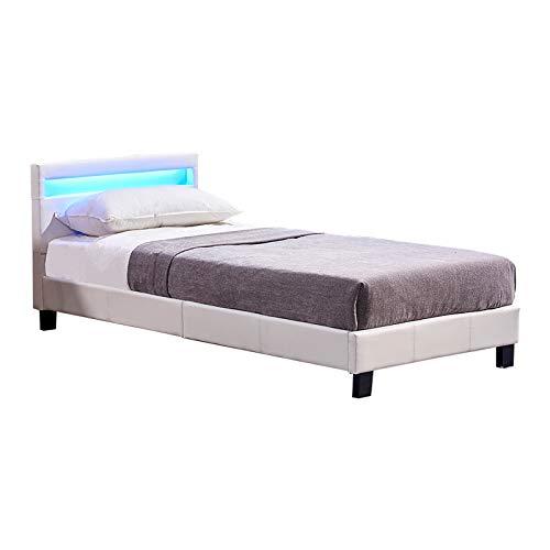 Supply24 Modernes LED Lederbett Amsterdam Weiss Leder Bett mit LED-Beleuchtung inklusive Lattenrahmen Lattenrost Polsterbett Jugendbett Doppelbett günstig (90 x 200 cm)