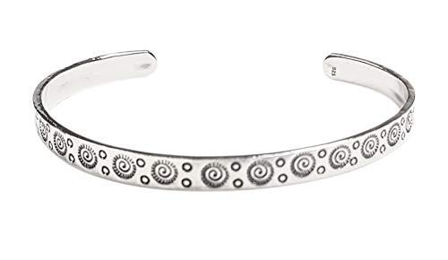 fein detaillierter Damen Armreif aus massivem 925 Sterling Silber