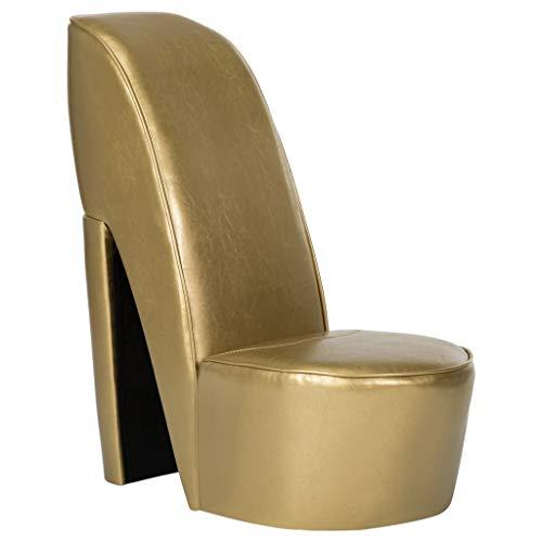 Tidyard Sillón con Forma de Zapato de tacón Cuero sintético Dorado | Sillones y chaises Longues | Novedoso diseño