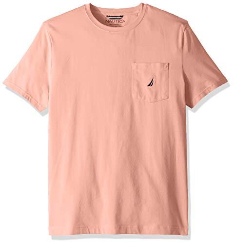 Nautica Men's Solid Crew Neck Short Sleeve Pocket T-Shirt, Coral Sands, Medium