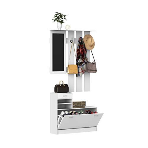 homcom Mobile d'Ingresso Moderno Guardaroba Set Appendiabiti, Specchio e Scarpiera 3 in 1, in Legno Bianco