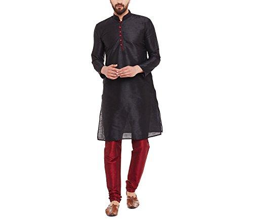 Royal SOJANYA Men's Dupion Silk Kurta with Contrast Loops Large Black