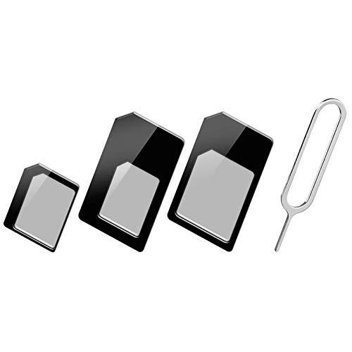 Techly 301535 Adattatore Scheda SIM (4 in 1) Nano-SIM, Micro-SIM e SIM Nero Nero