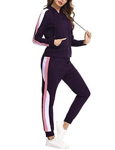 Jogginganzug Damen Lang Freizeitanzug Baumwolle Trainingsanzug Frauen Streifen Sportanzug Fitnessanzug mit Taschen, Lila, XL