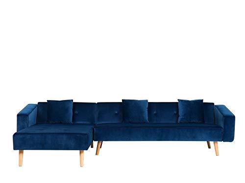 Beliani Ecksofa rechtsseitig Retro Stil Samtstoff blau mit Zierkissen Vadso