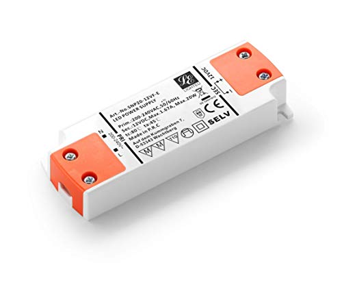 LIGHTEU, Transformateur d'alimentation LED - 20W, 12V DC, 1.67A - Tension constante pour les bandes LED et G4, MR11, MR16 Ampoules LED