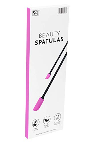 S&T INC. Beauty Spatulas, 2 Piece Set, Large and Small Sizes for Beauty and Kitchen, Black/Pink