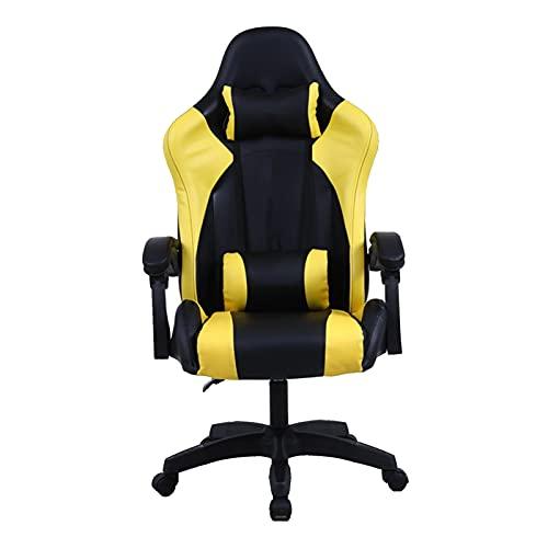 Silla de juegos, ergonómica reclinable, respaldo alto, silla de juego de computadora, estilo de carreras, silla de escritorio giratoria de oficina, color amarillo