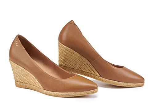 VISCATA Hecho a Mano en España Rosas Cuero Estilo Elegante 7.0 cm Zapatos de Tacón Alpargatas, Marrón (Brandy), 35 EU