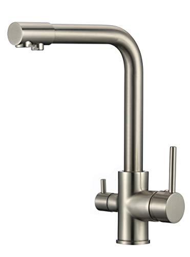 VALAZ Grifo de cocina 3 vías para ósmosis monomando giratorio 360 nikel para fregadero acero cepillado