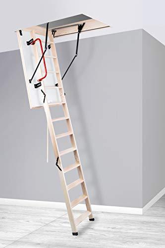 Bodentreppe wärmegedämmt viele Größen mit Handlauf und Fußkappen Treppe Raumhöhe bis 280cm U-Wert 1,1 (110x70)