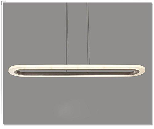 LED Lampe suspension Lampe suspension suspendu lampe d'éclairage plafonnier design moderne lampe de salle à manger rectangulaire médiane arrondie creuse 36W aluminium et lampe acrylique
