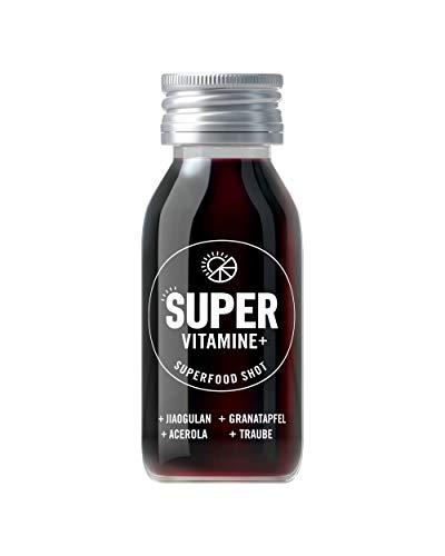SUPER SHOTS, Superfood Vitaminekur, 7 x 60 ml Glasflasche, mit VITAMIN C, B12, B-Komplex & Mineralien, Immunsystem stärken, mit Granatapfel-Traube Geschmack