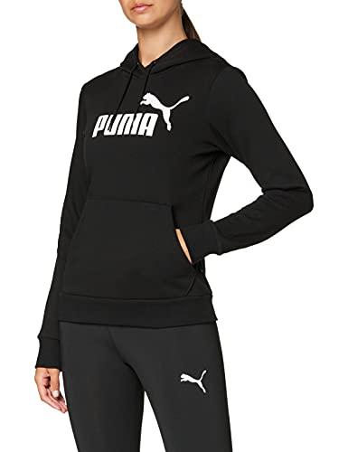 PUMA ESS Logo Hoody TR Sweatshirt, Mujer, Cotton Black, S