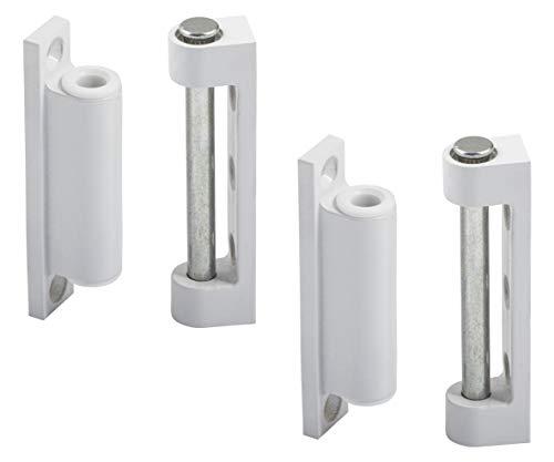 Gedotec Fenster-Scharnier weiß Kunststoff Fensterband zum Aufschrauben | Türband Kunststoff Fiberglas | Renovierband 20 x 75 mm | 2 Stück - Aufschraubband für für Insektenschutz Fenster oder Türen