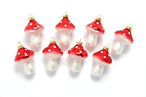 HEITMANN DECO Fliegenpilze aus Glas - Baumbehang Christbaumschmuck Weihnachtskugeln Weihnachtsdeko - 8-teilig Rot, Weiß