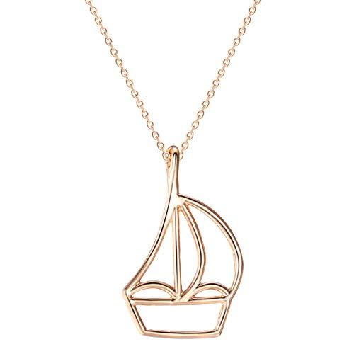 Gbrand Collar de velero de Oro Rosa, Collares y Colgantes geométricos para Mujeres, gargantillas, joyería, Regalo, joyería para Hombres-Rose_Gold_Color